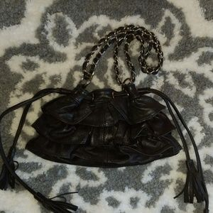 Adrienne Vittadini Leather Ruffled Mini Bag